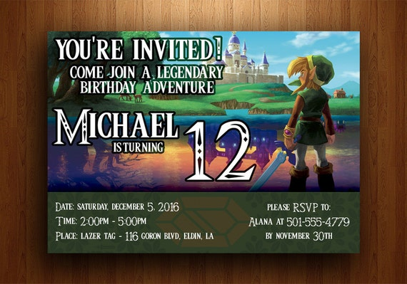 Leyenda de invitación de cumpleaños de Zelda enlace entre los