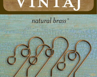 Vintaj Natural Brass ER20 20mm x 10mm French Ear Wire *3 pairs*