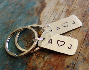 Couples Gift Set, Keychain Set of 2,Small Keychain,Tiny KeychainPersonalized Keychains,Couple Initials,Hand Stamped,Anniversary Gift,Cute
