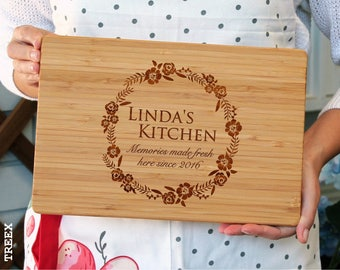 Personalized cutting board, custom bamboo chopping board, cheese and wine wooden board by TreeX