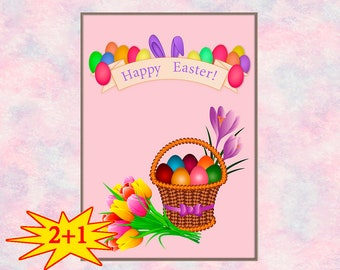 Happy Easter\ The Bunny Ears Print\ Easter Printable\ Wall Art\ Easter Poster\ Easter Basket\ Tulips\ Easter flower\ Easter decor\ Pink\ A 3
