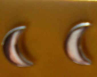 Peruvian Silver 950 Half Moon Stud Earrings