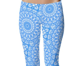 Yoga Pants for Women, Azure Blue Yoga Leggings, Blue Leggings, Blue and White Printed Leggings, Mandala Art Tights, Stretch Pants