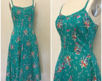 50's Teal Sundress. Floral. Swing SUndress. Pin Up Dress