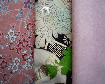 Silk Kimono Fabric Set, 3 pieces of Silk Kimono Fabric, Asian Textile for Craft Supply, Pink and Red Silk Fabric