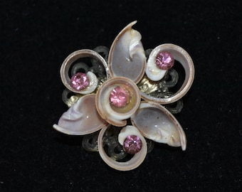 Vintage Sea Shell Brooch with Pink Rhinestones and Light Purple Shells