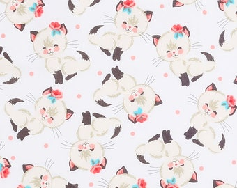 Cutie Cats Cotton Fabric by the yard and by the half yard
