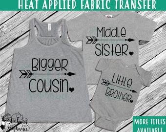IRON ON v122-B Big Little Sister Brother Cousin Heart Arrow Heat Applied T-Shirt  Transfer *Specify Color Choice in Notes or BLACK Vinyl