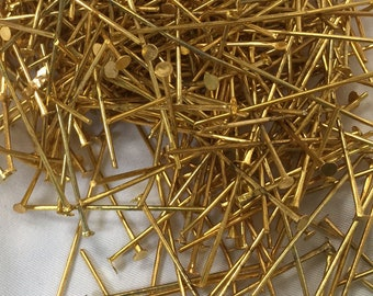Gold Tone head pins 2.8cm (1 1/8 inches), 2.5mm head