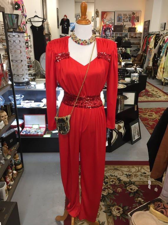 Vintage 1980s Red Jumpsuit by Claralura Originals Sz 8