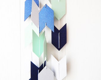 Arrow Garland in Mint Navy and Silver