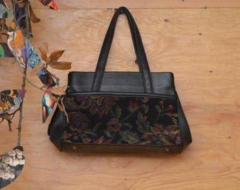 Vintage Tapestry Purse Genuine Leather Handbag Medium Size