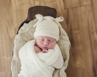 Flour Sack hat for NEWBORNS photography prop - Natural