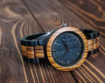 Wooden Watch Men Watches Personalized Gift Watch Engraved Watch Groomsmen Gift Wrist Watch Gift for Him Dad Gift for Boyfriend Custom Watch