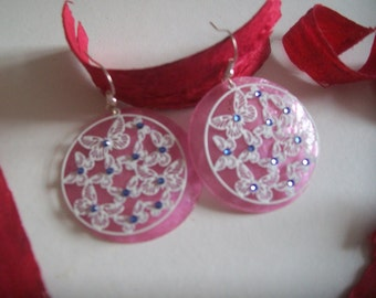 Pink and white earring