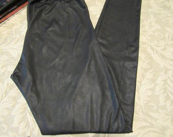 Shimmery Stretchy Black Leggings with Black Metallic Finish and Tapered Leg - Size Small (Juniors)