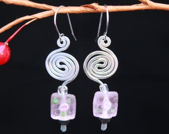 Handmade Wire Wrapped Earrings,  Flower Glass Bead Earrings,  Dangle Wire Earrings,  Modern Spiral Earrings,  Aluminum Wire Earrings