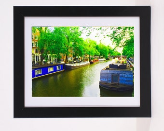 House Boats on Amsterdam Canals Neighborhoods Poster Colorful European Canal city view