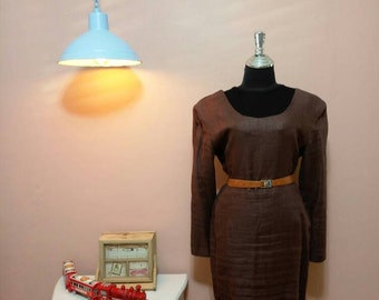 Brown  Vintage Dress. 80's Dress. Brown  Dress. 1980 Dress. 1980 Womens dress. Brown  Vintage Dress For Women 1980's Size L