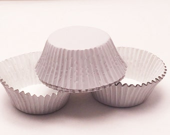 48 White Foil Standard Size Cupcake Liners Baking Cups