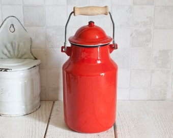 Vintage French JAPY 2L Red Enamel Milk Pot Handled Lidded || Rustic Home Decor - Country Style