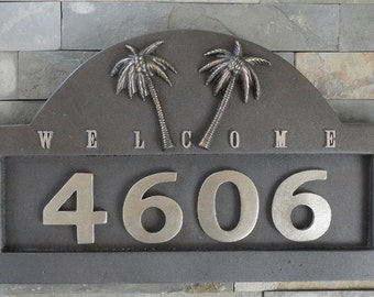 Tropical Palms ADDRESS PLAQUE  Beach House Numbers Sign