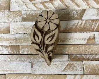 Vintage Wood Printing Block Stamp Made in India Floral/Flower Design (#27)