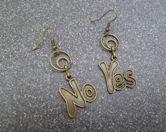 "Dangle earrings ""Yes or No"""