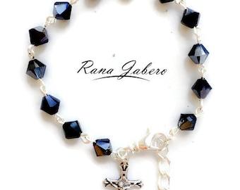 Swarovski® Crystal Bracelet w/Crucifix Charm - You Choose Color!