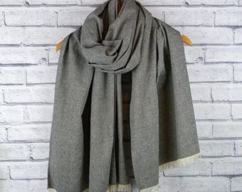 Fringed Linen Scarf - Grey