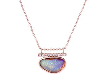 Opal Necklace, Opal Diamond Necklace, Australian Opal Necklace, Boulder Opal Necklace, Rose Gold Opal Necklace, Boho Opal Necklace, NIXIN