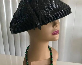 Very Cool Vintage later 50's early 60's Asian Style Conical Sunhat -- Tiki -- Asian -- Mid Century