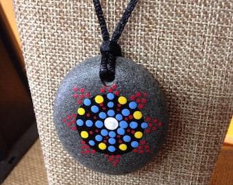 Mandala Necklace, Hand Painted Rock, Pendant