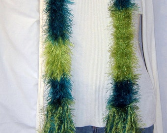 Green Boa, Fluffy, Scarf, Extra Long Boa, Unique Gift, Mans Womans Turquoise Lime Irish Bohemian Handmade Crochet knit Easter Springtime