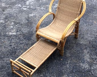 Rattan Lounge Chair with Pull Out Foot Rest