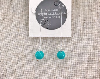 Turquoise shell earrings  Simple dangle earrings Hypoallergenic ear wires Classic style Simple design earrings