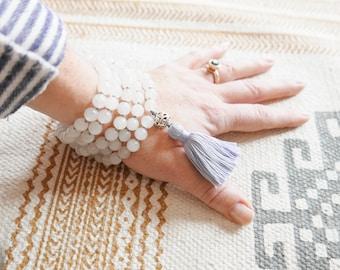 Clarity Quartz Mala - Handknotted 108 Mala Beads/White Quartz Mala Necklace/mala beads 108/mala beads/beaded necklace/malas