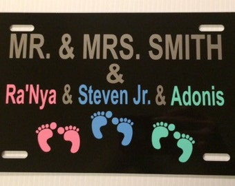 License Plate Family Personalized with Names Child Footprints Aluminum