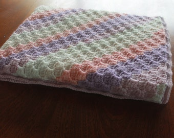 Crochet Baby Blanket- Striped Baby Blanket - Baby Girl Blanket - Pink, Purple and White Baby Blanket.