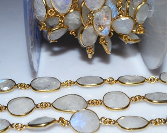 Beautiful Rainbow Moonstone Connector Beaded Chain-Rainbow Moonstone Faceted Wire Connector Chain , 11-15 mm - RB5165