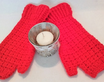 Fingerless Gloves, Crochet Handwarmers, Fingerless Mittens, Arm Warmers, Wrist Warmers, Festival Wear, Sunset Orange, Ladies Medium Gloves,
