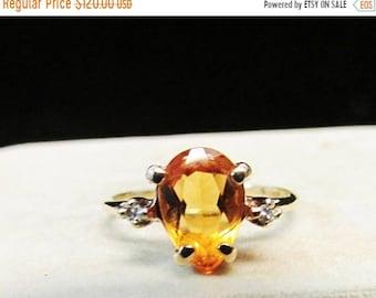 On Sale Vintage Estate  10K Pear Shaped Cut Citrine Ring