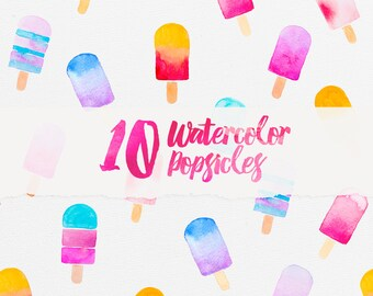 Watercolor Popsicles - Popsicle Clipart, Digital File, Summer Clipart, Scrapbook Paper, Seamless Pattern, Instant Download, Digital Paper