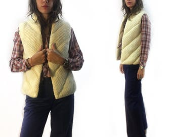 "vintage 70s puffy chunky sweater knit waistcoat vest by ""The Italian Mob"" // women's size large"