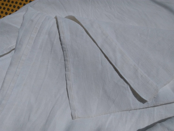 19th C. White French HEMP and LINEN Fabric Sheet Tablecloth Curtain Panel Bed Cover #SophieLadyDeParis