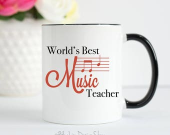 Music Teacher Mug, World's Best Music Teacher Mug, Gift For Music Teacher, Music Teacher Gift, School Music Teacher, Musician Gift, Music