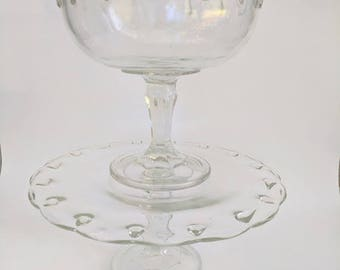 Vintage Indiana Glass Company Compote and Cake Stand Set