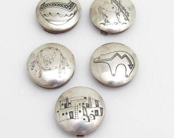 Sterling Button Covers Southwestern Set of Five