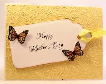 Mothers Day Card, Mother's Day card, handmade card, Happy Mothers Day, Mom card, card for mom, butterfly card, feminine card, MADE TO ORDER
