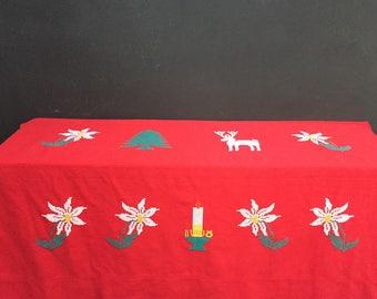 Vintage Handmade Cross Stitch Nordic Style Christmas Tablecloth
